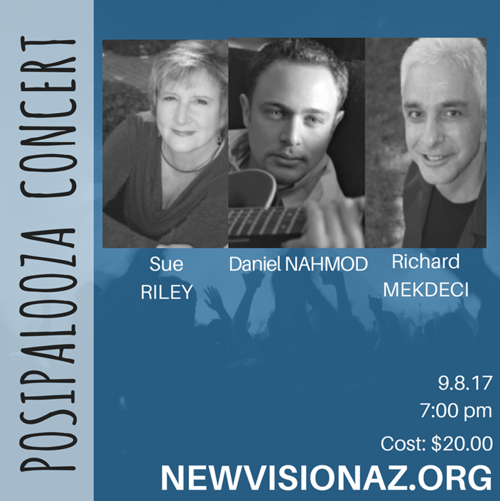 7:00pm PosiConcert - Daniel Nahmod, Sue Riley & Richard Mekdeci @ New Vision Center Sanctuary